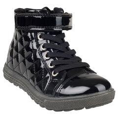 Botas bajas con cordones con velcro de charol acolchado de color negro