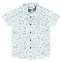 Camisa de manga corta de popelina de algodón ligero con estampado all-over
