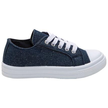 Baskets basses en toile couleur jean et paillettes argentées