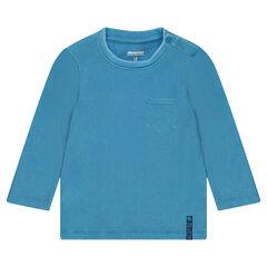 Camiseta de pana de manga larga con bolsillo tipo parche