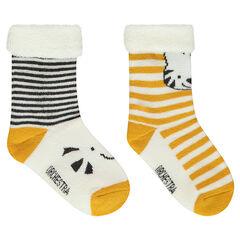 Juego de 2 pares de calcetines variados con rayas y animales de jácquard