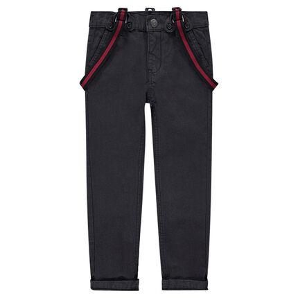 Pantalón de tela lisa con tirantes desmontables