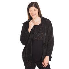 Chaqueta para el embarazo con capucha de tela sherpa
