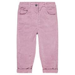 Pantalón de terciopelo raso con forro de punto y bolsillos con bordados