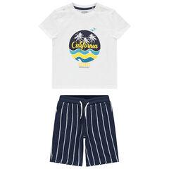 Conjunto camiseta estampada + pantalón corto de raya