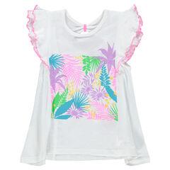 Camiseta de manga corta con volantes y estampado floral brillante