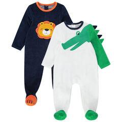 Juego de 2 pijamas de terciopelo con dibujos de cococdrilo y león
