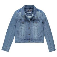 Chaqueta de jean con bordado con forro de tela sherpa