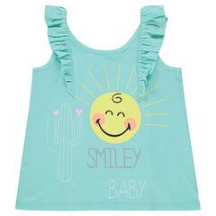 Camiseta de punto sin mangas con estampado ©Smiley