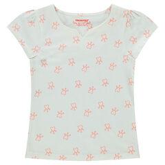 Camiseta de manga corta de punto con estampado de corazones all-over