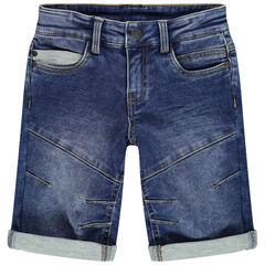 pantalon corto  vaquero efecto used à cortes