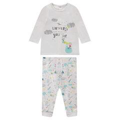 Conjunto de camiseta de punto reforzado y pantalón de felpa estampada reforzada con borreguito