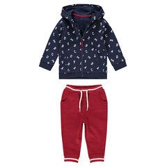 Conjunto de chaqueta estampada con letras all over y pantalón liso de felpa