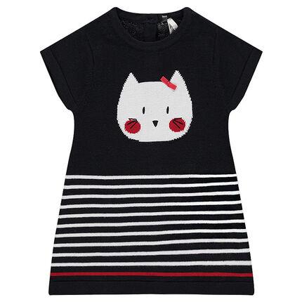 Vestido de manga corta de punto con gato de jacquard y rayas estampadas