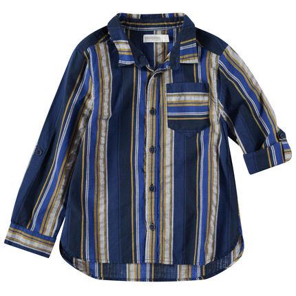 Camisa de manga larga con rayas verticales en contraste y bolsillo