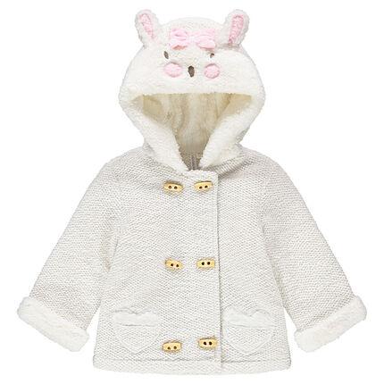 Chaqueta con capucha de felpa de fantasía con orejas de conejo de relieve