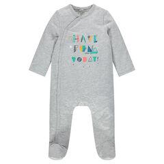 Pijama de muletón con inscripciones estampadas por delante