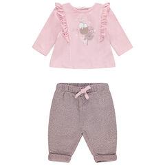 Conjunto con camiseta con volantes y estampado de conejo con pantalón de lunares