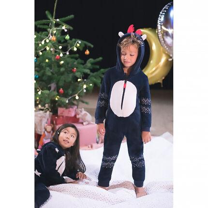 Sobrepijama de reno de borreguito con frisos de estilo navideño