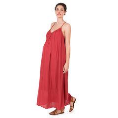Vestido largo de premamá de crepé con tirantes de fantasía