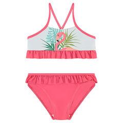 Bikini con volantes y flamenco rosa