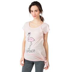Camiseta homewear de embarazo y lactancia con estampado de flamenco rosa