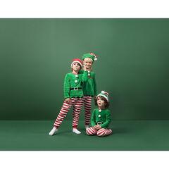Pijama de duende de Navidad en polar estilo disfraz con conjunto y gorro