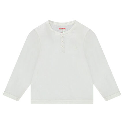 Júnior - Camiseta de manga larga de punto liso con abertura en el cuello