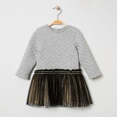 Vestido de manga larga de dos materiales de felpa y tul plisado