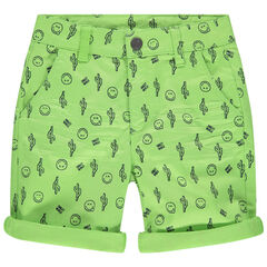 pantalon corto verde estampado Smiley all-over