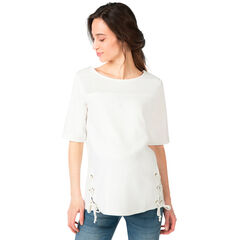 Camiseta premamá de manga corta bimaterial