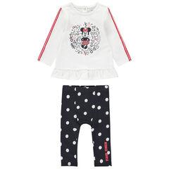 Conjuunto con camiseta con estampado de Minnie Disney y leggings de lunares