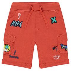Bermudas de muletón con bolsillos y parches