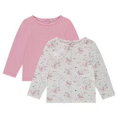 Pack de 2 camisetas de manga larga lisa/estampada con botones en la espalda