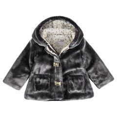 Abrigo de borreguillo con capucha y forro de punto estampado con cuerno