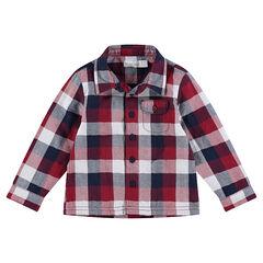 Camisa de manga larga de cuadros con forro de punto