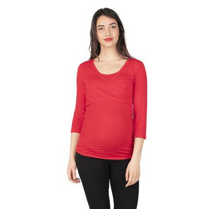 Camiseta de punto de manga larga para embarazo y lactancia
