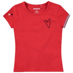 Camiseta de punto rojo con corazón y estrellas
