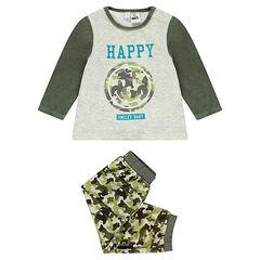Pijama de terciopelo con motivo militar y estampado ©Smiley