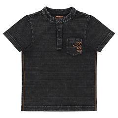 Camiseta de manga corta efecto a rayas con cuello mao