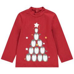 Camiseta de interior con cuello subido de algodón ecológico y osito estampado de estilo navideño