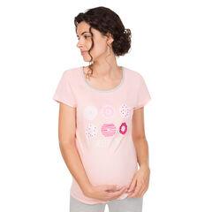 Camiseta de premamá homewear de manga corta con estampado de donuts.