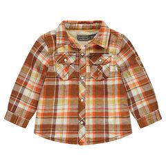 Camisa de cuadros con forro de borreguillo y bolsillos