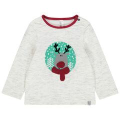 T-shirt manches longues en jersey chiné avec élan printé et détails en bouclette