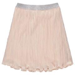Falda plisada con cinturón elástico plateado