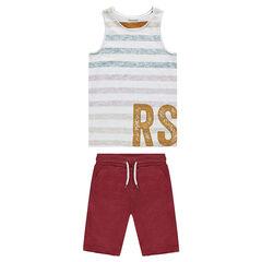 Júnior - Conjunto de camiseta de rayas y bermudas de felpa