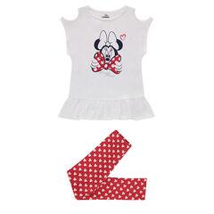 Conjunto con camiseta con hombros de punto calado estampado Disney Minnie y leggings