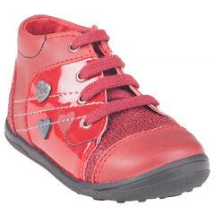 Botas bajas con cordones de cuero de color rojo