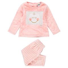 Pijama de borreguillo y terciopelo con ©Smiley cosido y rayas que contrastan