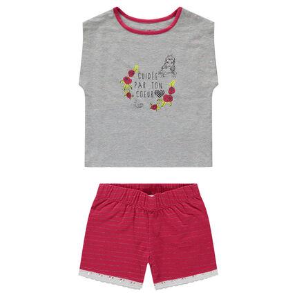 Pijama corto de camiseta estampada con Bella de ©Disney y short de rayas plateadas.